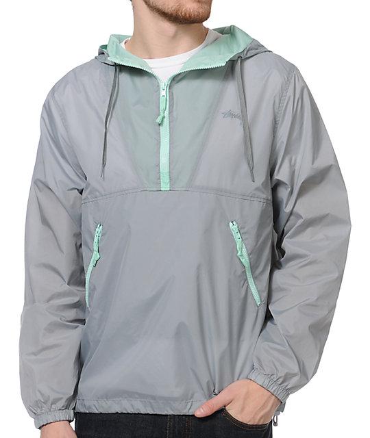 Stussy Nylon Hooded Grey & Mint Windbreaker