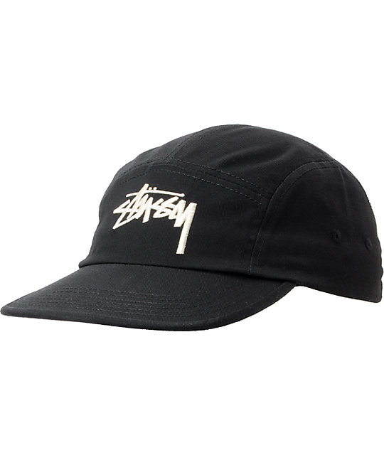 Stussy Pastel Black Camper 5 Panel Hat