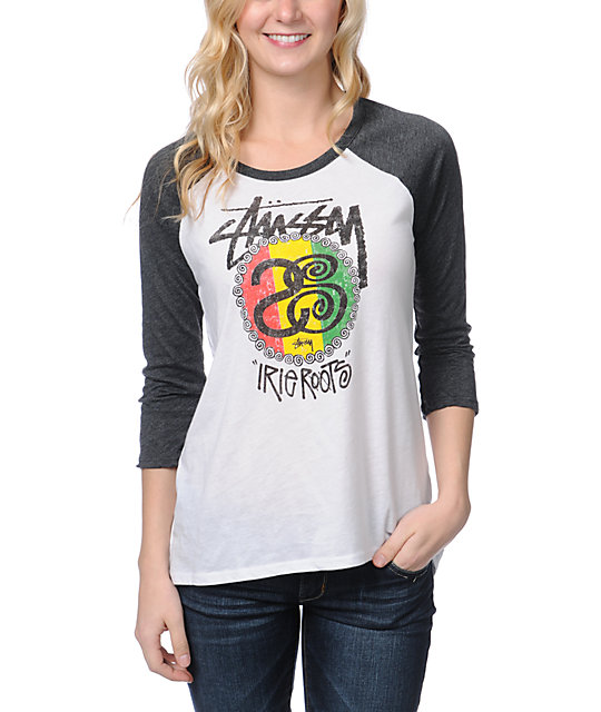 Stussy Rasta Roots White Baseball Tee