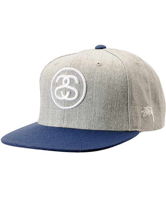 Stussy SS Link Heather Grey & Blue Snapback Hat
