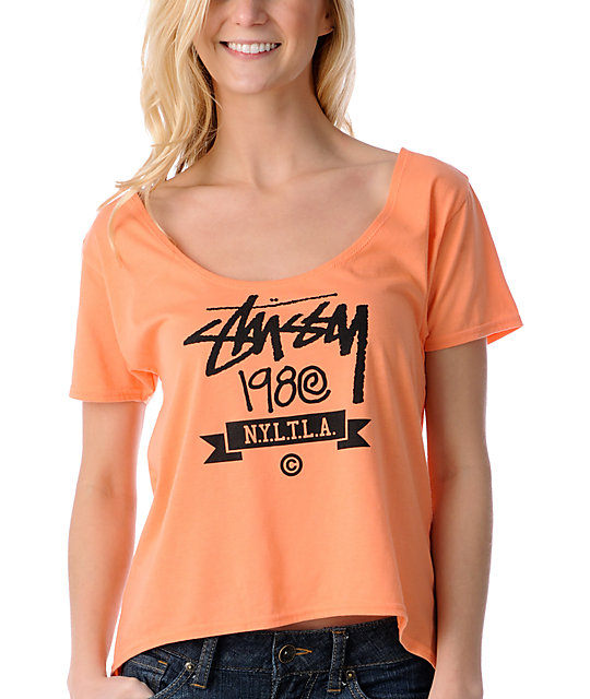 Stussy Stock Banner Neon Orange Slouchy Crop Top