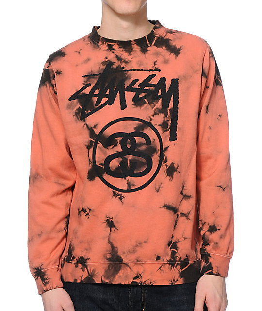 Stussy Storm Stock Link Red Tie Dye Crew Neck Sweatshirt