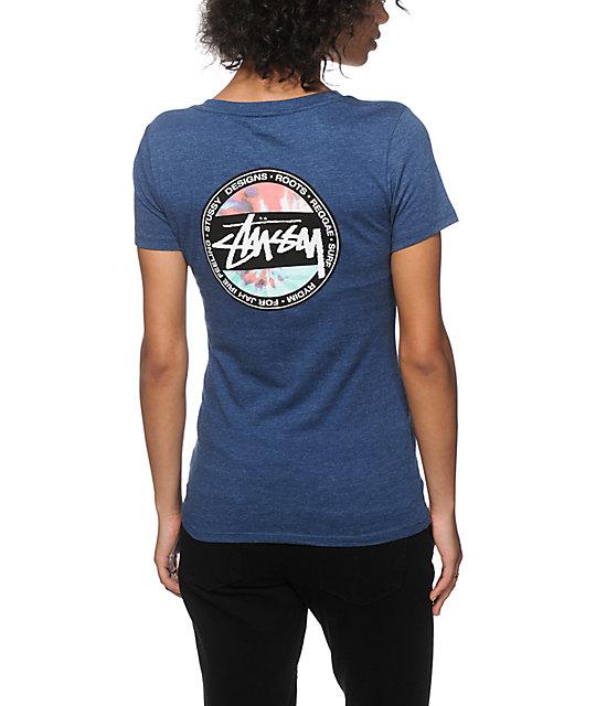 Stussy tie dye dot back v neck t shirt at zumiez pdp for V neck back shirt