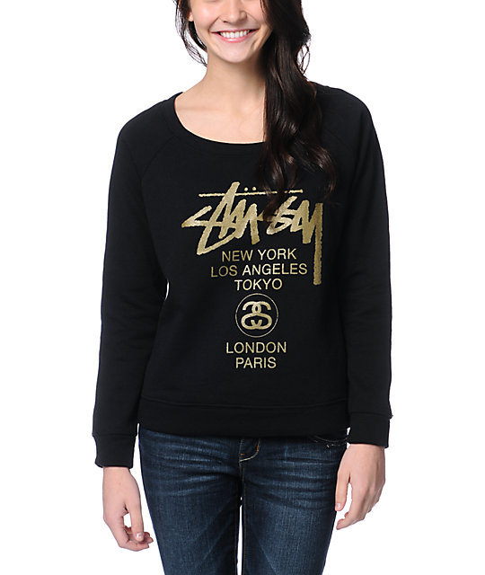 Stussy World Tour Black & Gold Crew Neck Sweatshirt