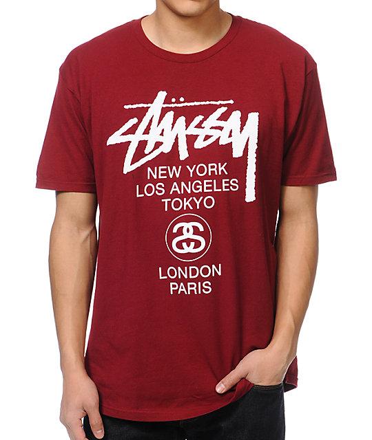 Stussy World Tour Burgundy T-Shirt