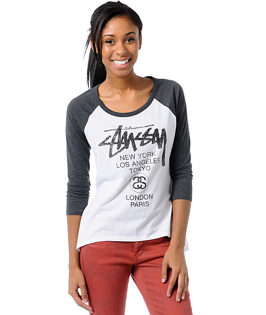 Stussy World Tour White & Grey Baseball Tee