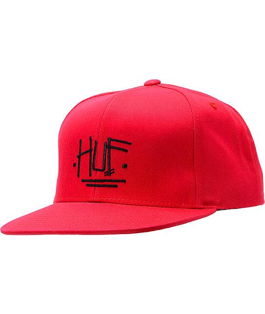 Stussy x Huf Proto Red Snapback Hat