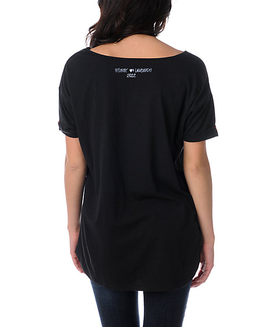 Stussy x Love+Made Labor Of Love Black Slouchy T-Shirt