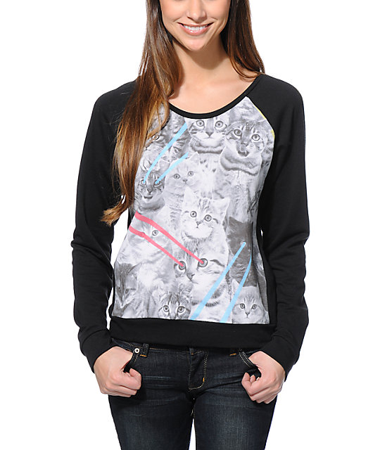 Sugar High Laser Cat Eyes Sublimated Crew Neck Sweatshirt