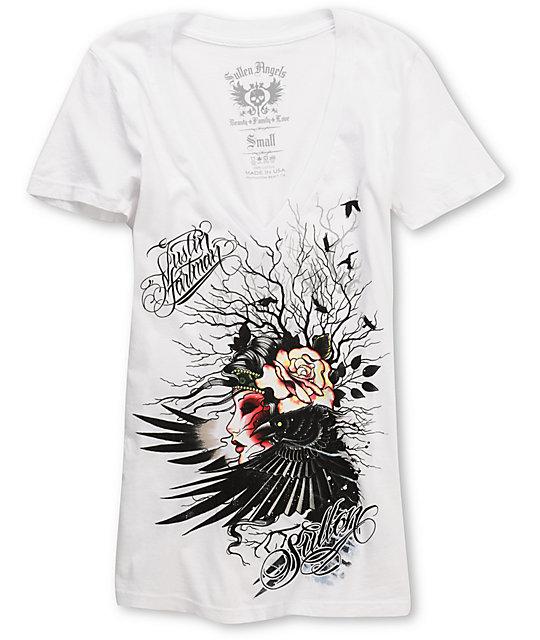 Sullen Lady Crow White V-Neck T-Shirt