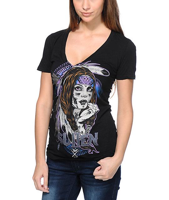 Sullen Native Black V-Neck T-Shirt