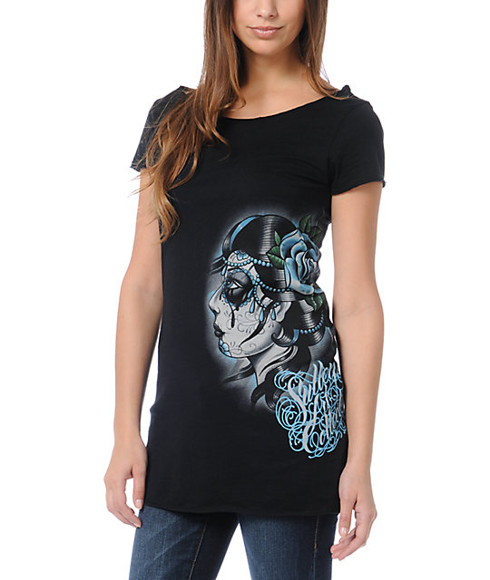 Sullen Tears Black Wide Neck T-Shirt
