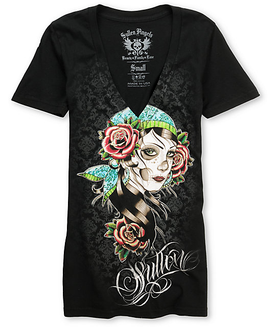 Sullen Victorian Rose Black V-Neck T-Shirt