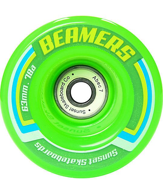 Sunset Beamers 63mm Green LED Cruiser Wheels