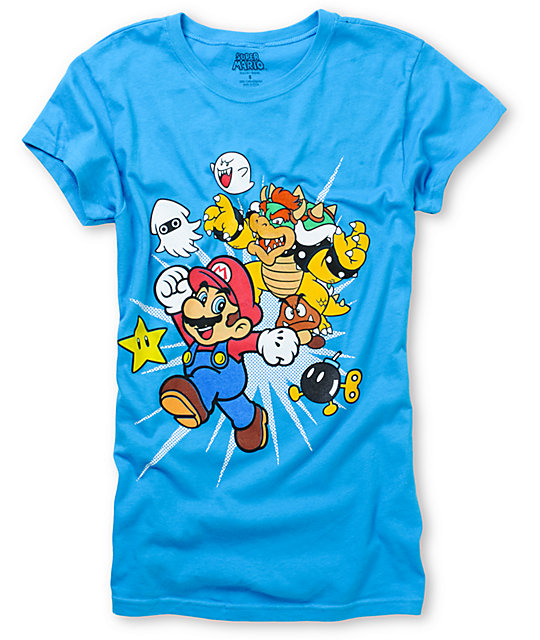 Super Mario Bowser And Mario Blue T-Shirt