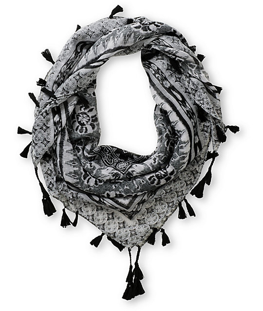 Super Trader Black & White Print Scarf