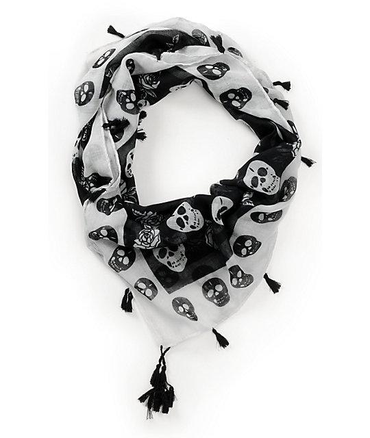 Super Trader Black & White Skull Print Scarf