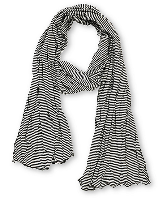Super Trader Black & White Striped Scarf