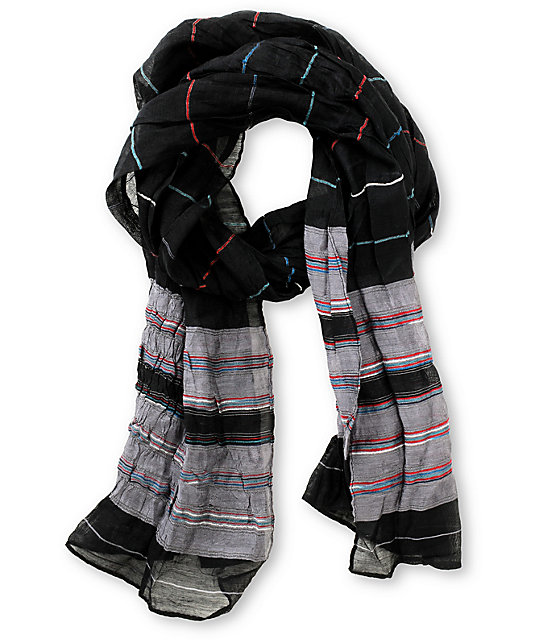 Super Trader Black Striped Scarf