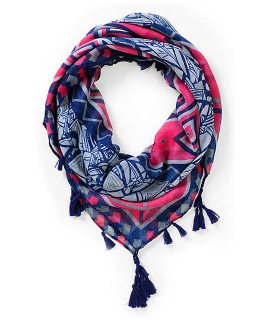 Super Trader Geo Print Navy Blue & Pink Scarf