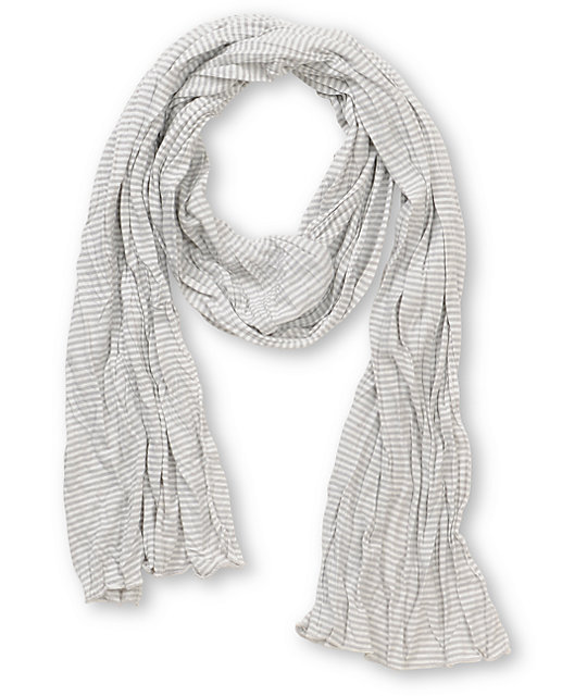 Super Trader Grey & White Striped Scarf
