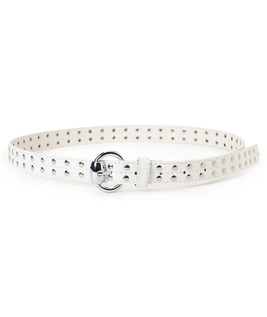 Super Trader Studded White Skinny Belt