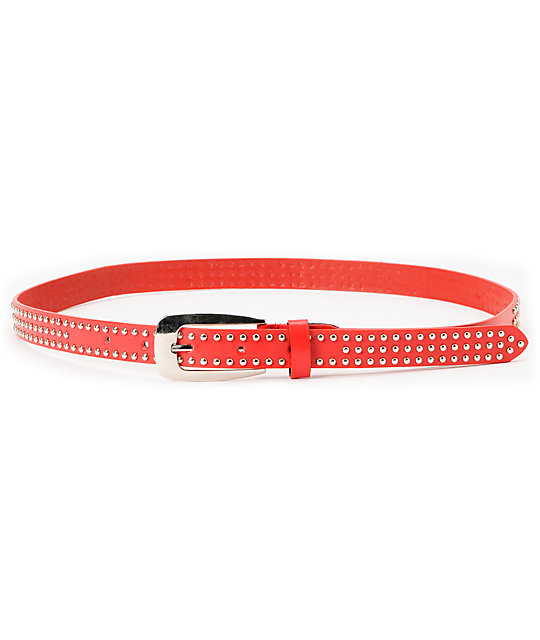 Super Trader Triple Studded Red Skinny Belt