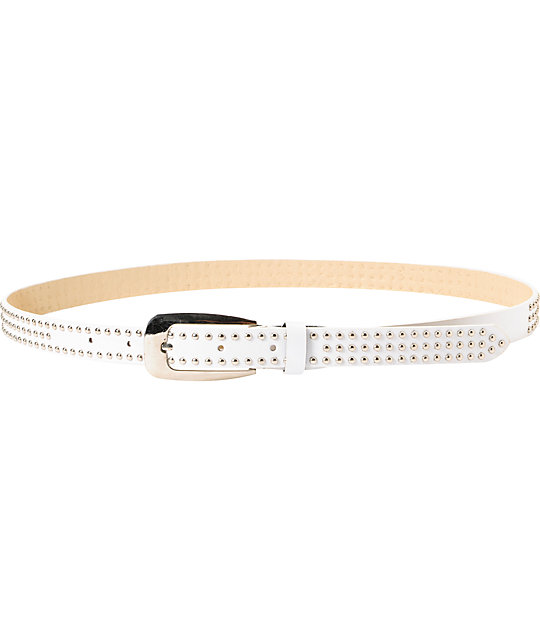 Super Trader Triple Studded White Skinny Belt
