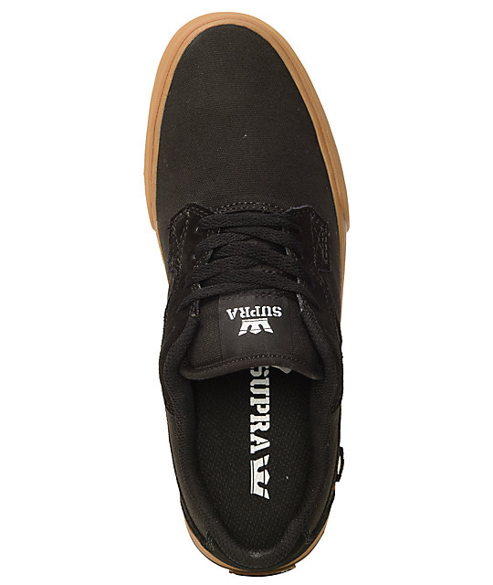 Supra Axle Black & Gum Canvas Skate Shoes