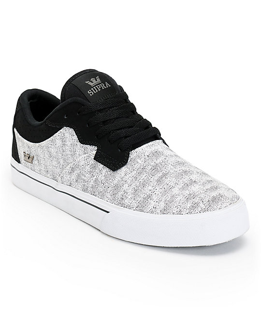 Supra Axle White Speckle & Black Skate Shoes