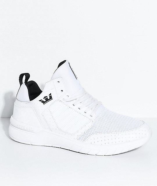 Supra Boys Method White, Black, Leather & Mesh Shoes
