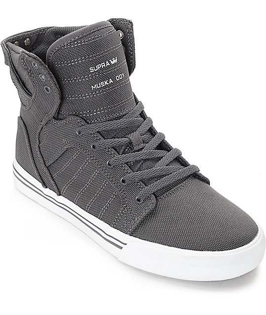 Supra Boys Skytop Charcoal & White Canvas Skate Shoes