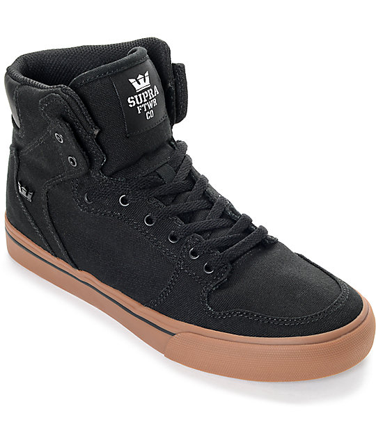 Supra Boys Vaider Black & Gum Canvas Skate Shoes