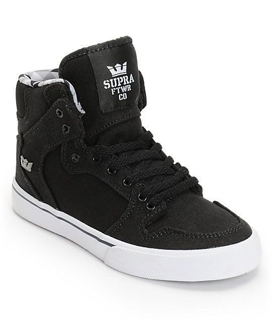 Supra Boys Vaider Black & White Skate Shoes