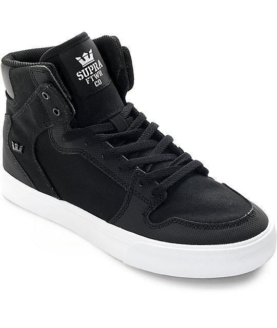 supra boys vaider black white canvas skate shoes at