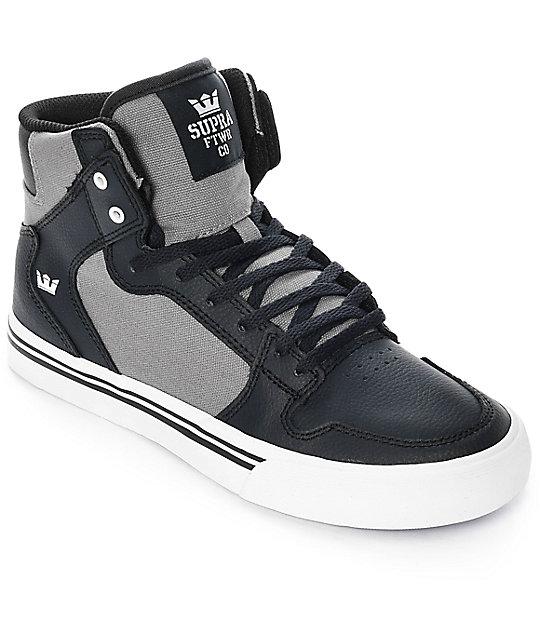 Supra Boys Vaider Black Leather & Grey Canvas Skate Shoes