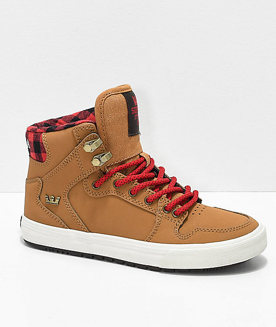Supra Boys Vaider CW Bone Brown & Plaid Shoes