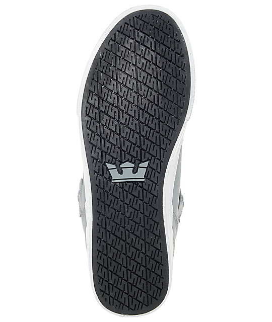 Supra Boys Vaider Grey & White Leather Skate Shoes