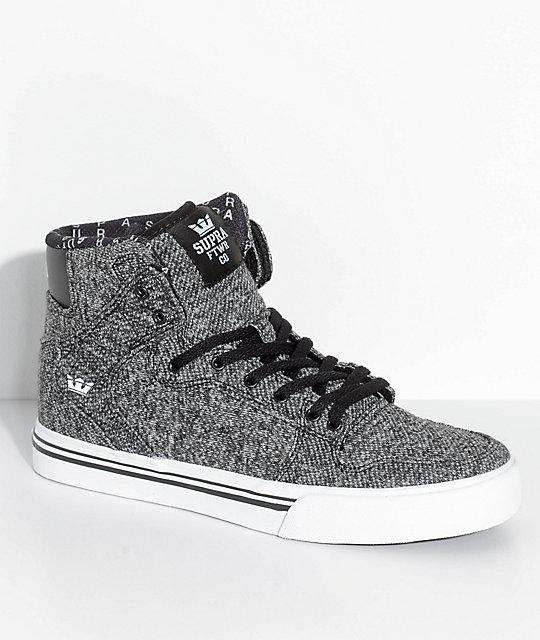 Supra Boys Vaider Heather Black Knit Skate Shoes
