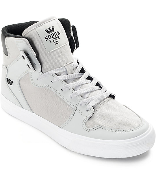 Supra Boys Vaider Light Grey & White Skate Shoes