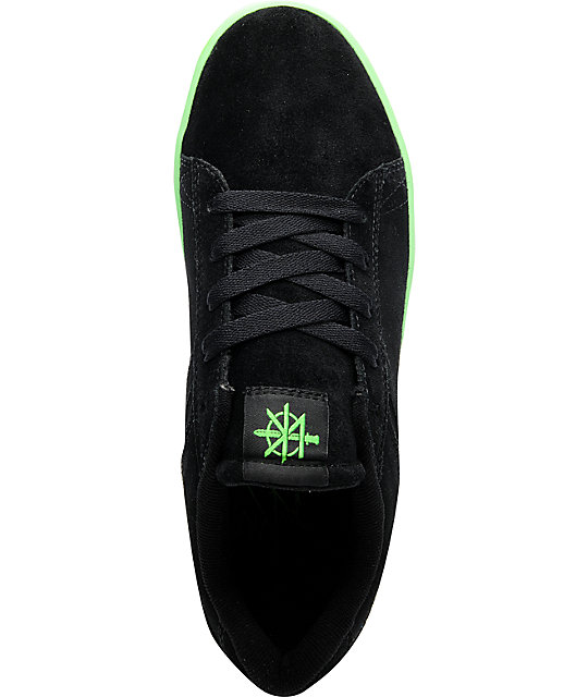 Supra Bullet Lizard King Black Suede & Neon Green Skate Shoes