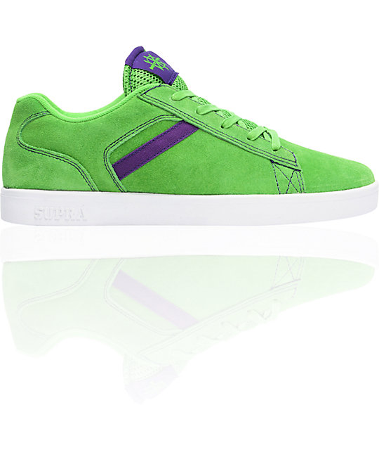 Supra Bullet Lizard King Green Suede & Purple Skate Shoes
