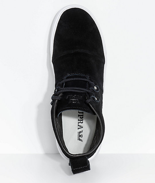 Supra Charles Black & White Suede Skate Shoes