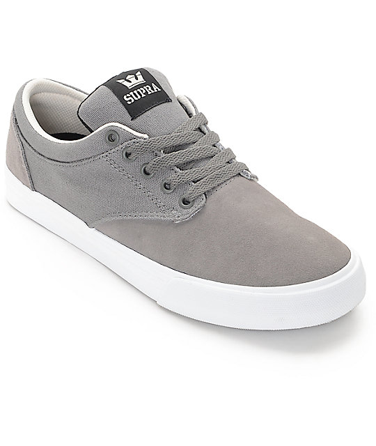 Supra Chino Magnet White Suede Canvas Skate Shoes