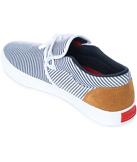 Supra Cuba White & Navy Stripes Skate Shoes