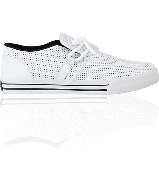 Supra Cuban White Perforated Leather Skate Shoes