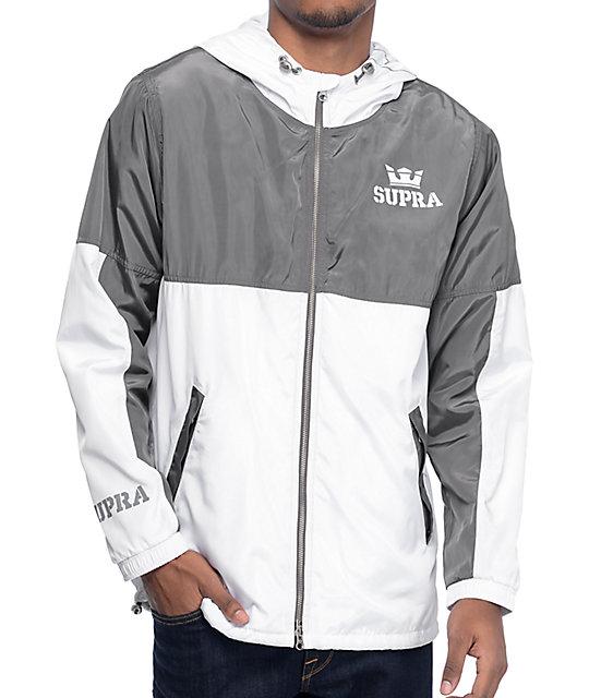 Supra Dash Grey & White Windbreaker Jacket | Zumiez