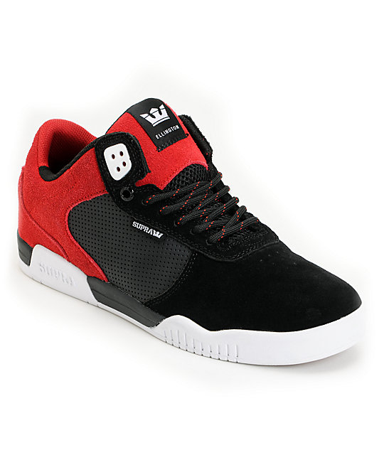 Supra Ellington Black & Red Suede Skate Shoes