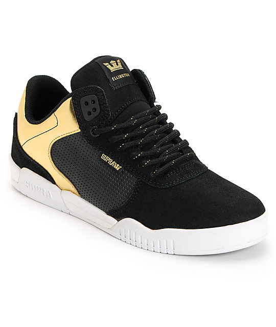 Supra Ellington Black Suede & Gold Foil Skate Shoe