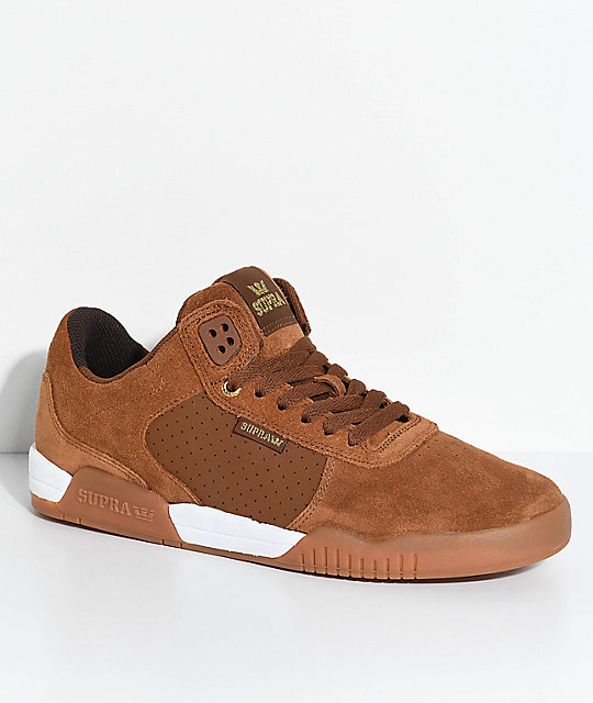 Supra Ellington Brown & Gum Perforated Suede Skate Shoes